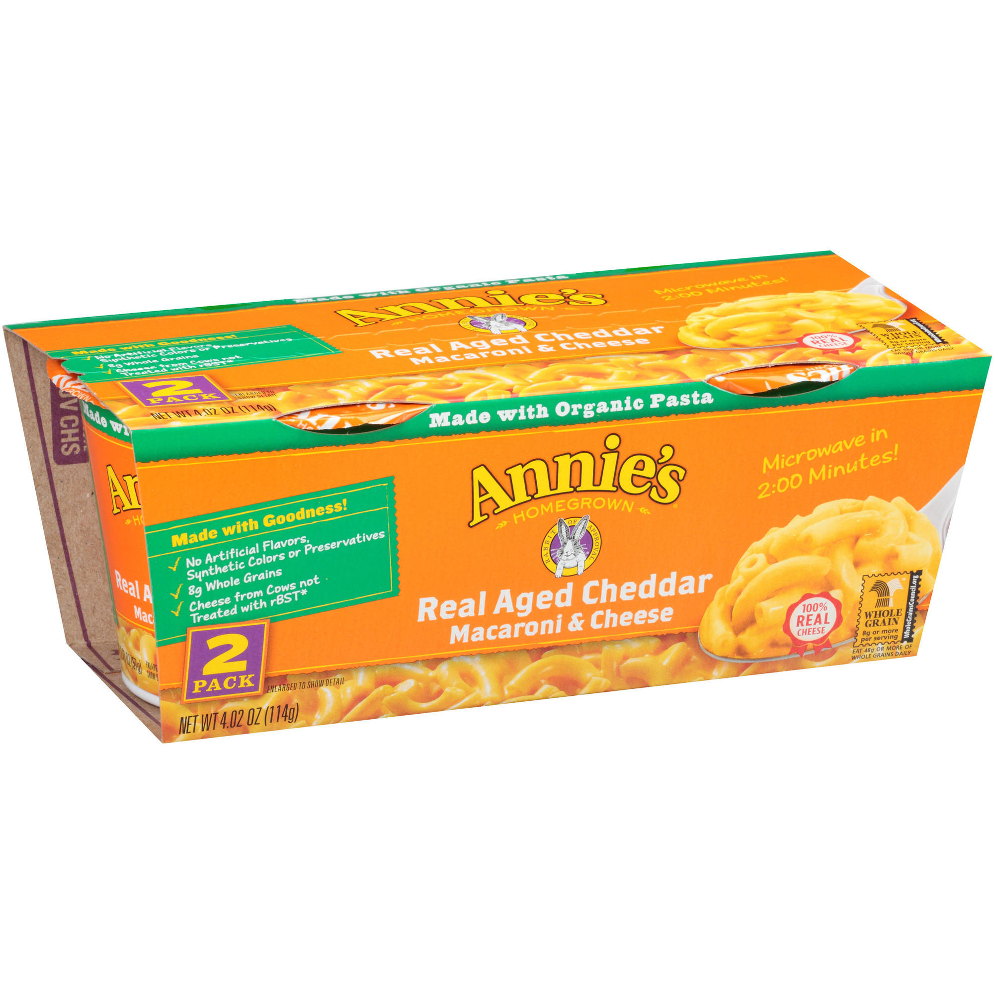 Annie's Real Aged Cheddar Macaroni & Cheese Microcups, 2.01 oz, 2 count