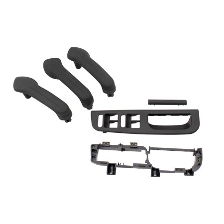 - Black 4 Piece Kit of 3 Inside Door Grab Handles w/ Master Window Switch Bezel Plate & Trim Set Replacement for VW Golf Jetta