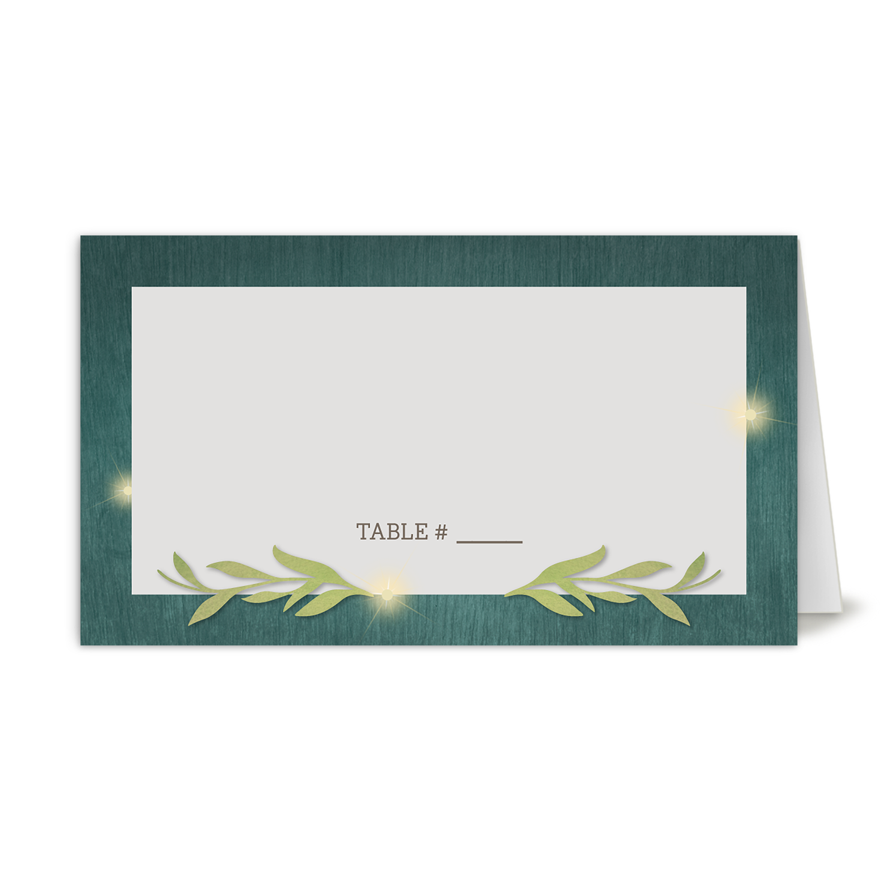 Personalized Wedding Place Card - Greenery Lights - 3.5 x 2 Folded