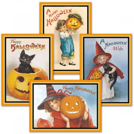 Victorian Halloween Greeting Cards - Set of 8 (2 of each) - 3d Halloween Card