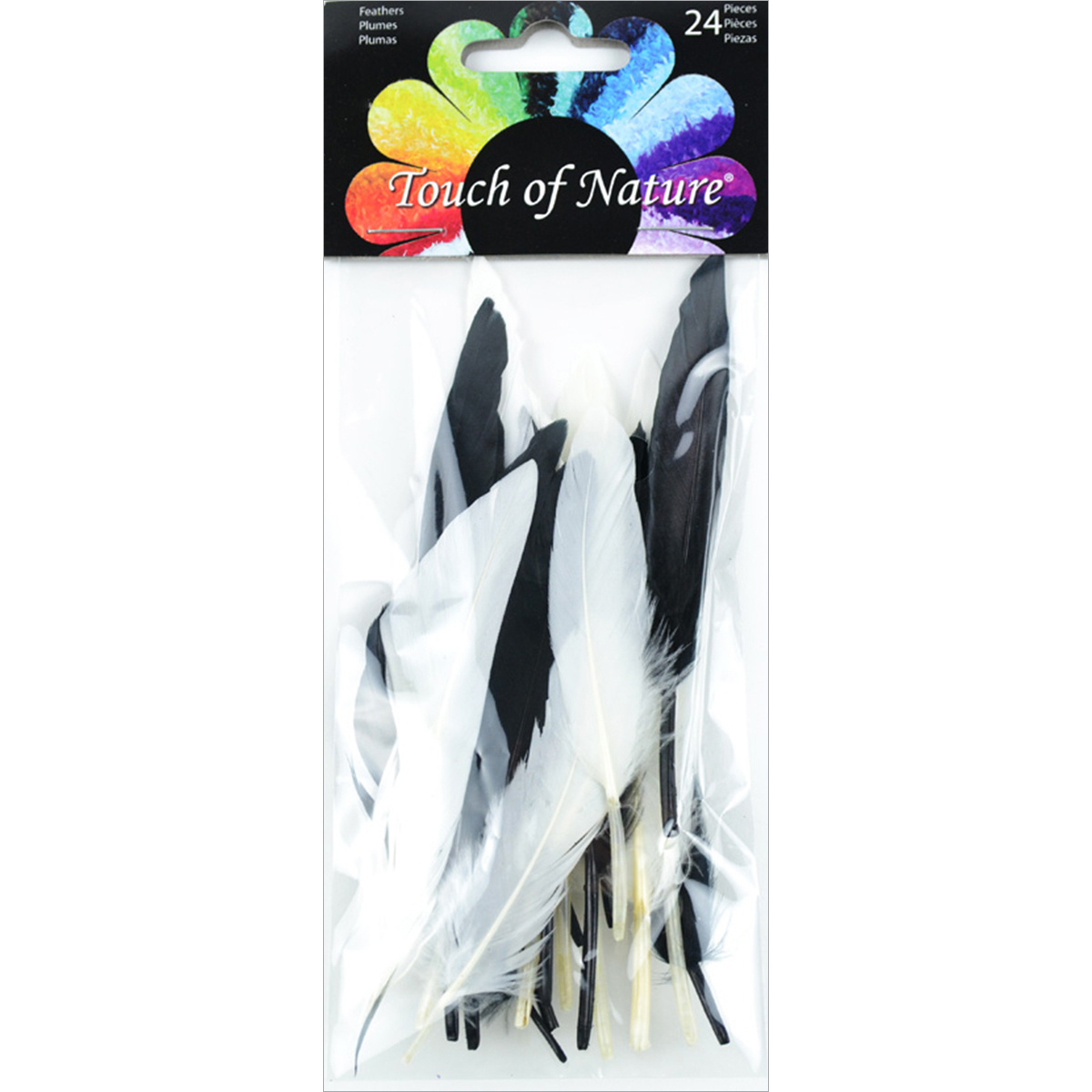 Duck Quill Feathers 24/Pkg-Black & White Mix