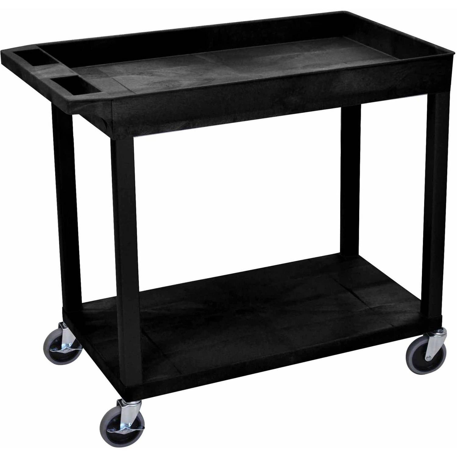 "Luxor EC12 18"" x 32"" Cart with 1 Tub and 1 Flat Shelf"
