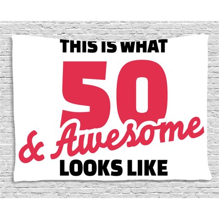 50th Birthday Decorations Tapestry, Fifty and Awesome Cool and Fun Hand Written Happy Slogan, Wall Hanging for Bedroom Living Room Dorm Decor, 60W X 40L Inches, Red Black White, by Ambesonne - Red And Black 50th Birthday Decorations