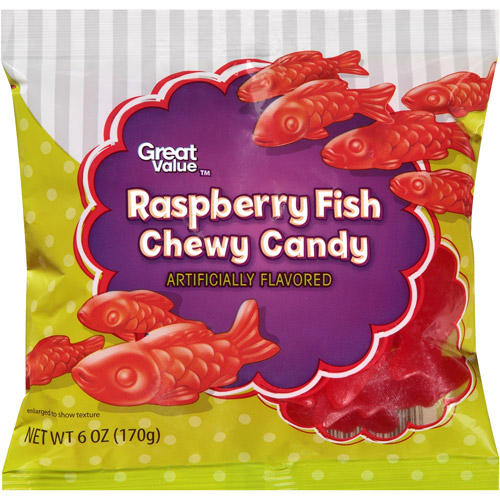 Great Value Raspberry Fish Chewy Candy, 6 oz