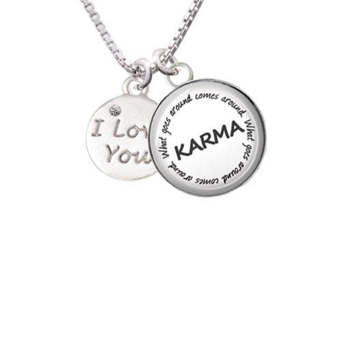 "I Love You Disc Karma Glass Dome Necklace, 18""+2"""