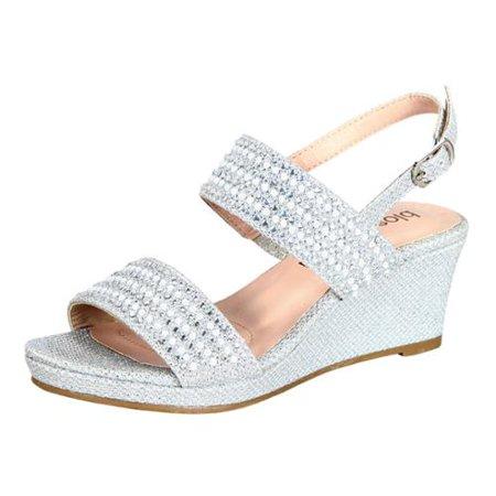 713aaf1a22a Blossom Girl - Little Girls Silver Glitter Pearl Accents Open Toe Wedge  Sandals 8-10 Toddler - Walmart.com
