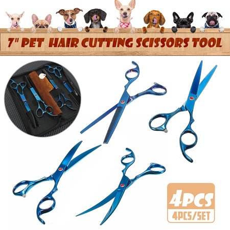 """4x/Pack 7"""" Professional Hair Cutting Scissors Hair Scissors Set Pet Dog Cat Grooming Curved Thinning Shears & Straight Trimmer - image 10 of 10"""