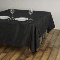 "90"" Black Premium Square Polyester Tablecloth"