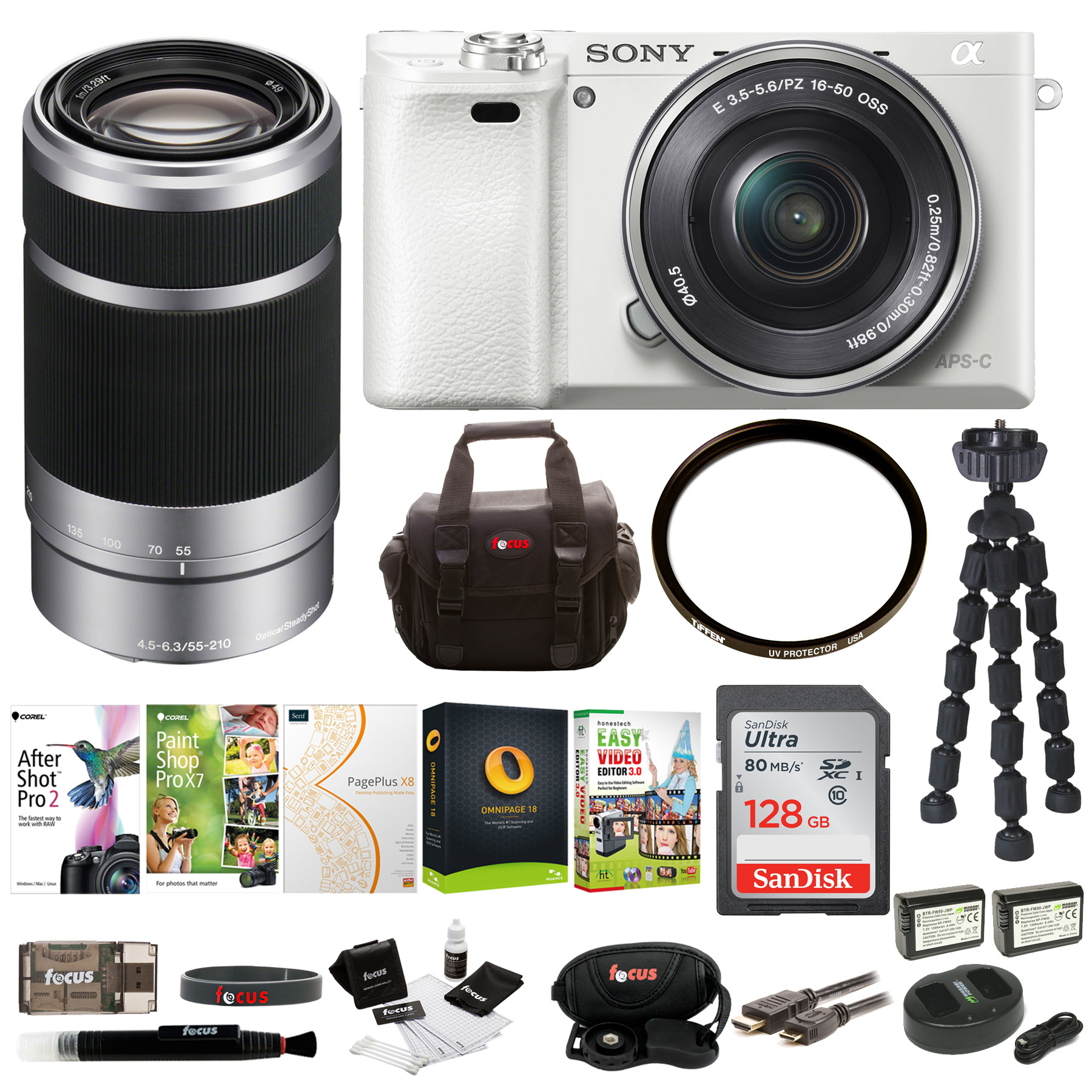 Sony Alpha a6000 Camera w/ 16-50mm Lens (White) + 55-210mm Lens + 128GB Card + Software Suite + Accessory Bundle