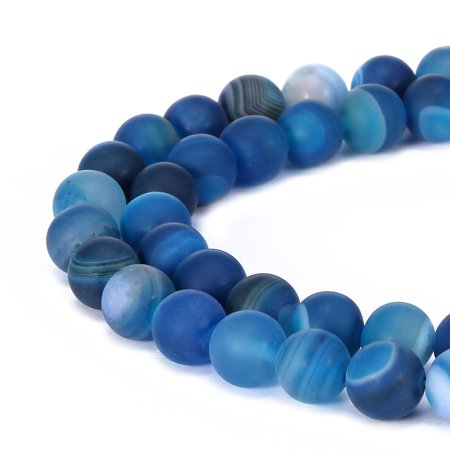 Agate Gemstone Loose Beads (BRCbeads Stripe Agate Natural Gemstone 8mm Matte Round Beads for Jewelry)