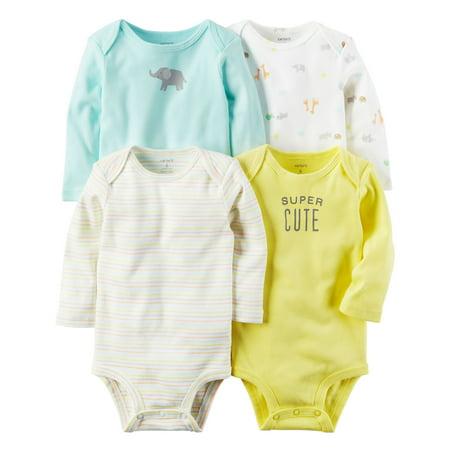 Carter's Baby Neutral 4 Pack Long Sleeve Original Bodysuits Yellow - Yellow Onesie Baby