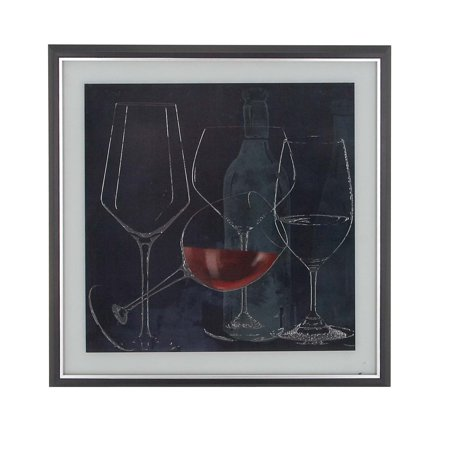Decmode Rustic Wood And Canvas Tilted And Upright Goblets And Wine Bottle Square Framed Wall Art, Blue ()