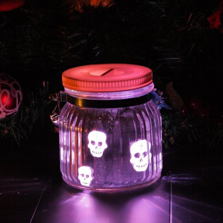 Candle Choice Mason Jar Light Indoor Outdoor Jar Lantern Light Battery Operated Lantern with Remote and Timer Halloween Light, Skull, multi-color - Halloween Glass Jar Lanterns