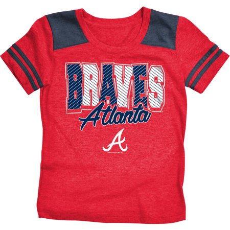 MLB Atlanta Braves Girls Short Sleeve Team Color Graphic Tee