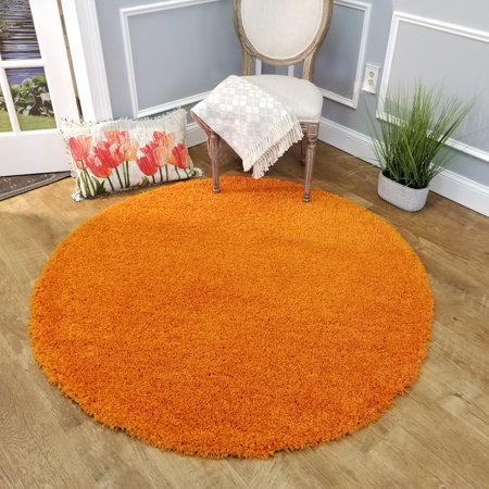 Maxy Home Bella Solid Orange 5 ft. Round Shag Area