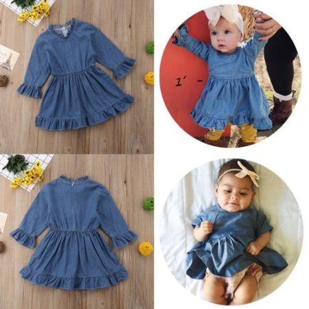 74f3b6ae953 Kid Baby Girl Long Sleeve Denim Autumn Ruffled Dress Button Clothes Outfit
