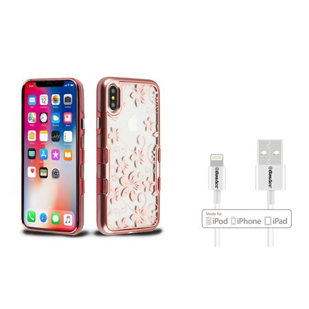 Insten Tuff Panoview Hibiscus Flowers Dual Layer Hybrid PC/TPU Rubber Transparent Case Cover For Apple iPhone X - Rose Gold (Bundle with BasAcc MFI Certified Lightning Cable) (Hibiscus Flowers For Sale)