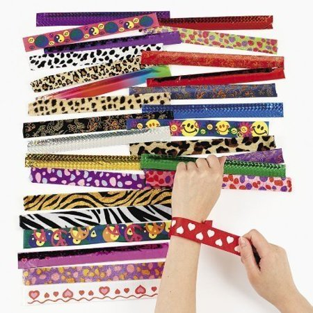 Assorted Slap Bracelets 9 Inches - 50 Pieces – Assorted Colors And Cool Shapes Snap Bracelet - For Boys And Girls Great Party Favors, Bag Stuffers, Gift, Prize, Piñata Fillers - By Kidsco (Slap Bracelets 90s)