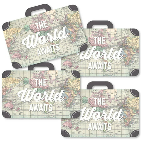 World Awaits - Suitcase Decorations DIY Travel Themed Party Essentials - Set of - Classy Party Themes