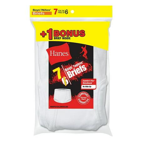 Boys' TAGLESS® White Briefs 7-Pack (Includes 1 Free Bonus Boxer Brief) (Boys White Boxers)