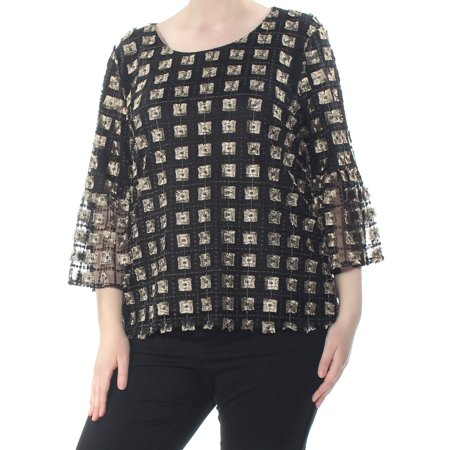 CALVIN KLEIN Womens Black Embellished Square Bell Sleeve Top  Size: XL Embellished Womens Suits