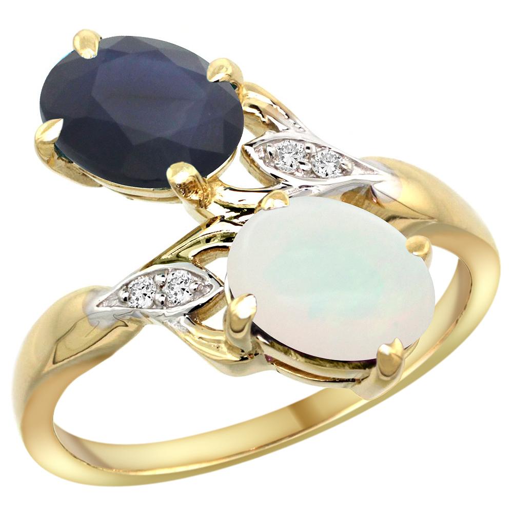 10K Yellow Gold Diamond Natural Blue Sapphire & Opal 2-stone Ring Oval 8x6mm, sizes 5 10 by WorldJewels