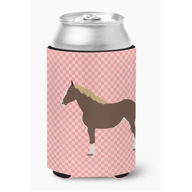 Percheron Horse Pink Check Can or Bottle Hugger