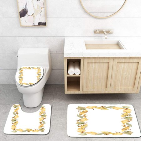 XDDJA Watercolor Rectangular Frame Leaves and Branches Isolated on White 3 Piece Bathroom Rugs Set Bath Rug Contour Mat and Toilet Lid Cover - image 2 of 2