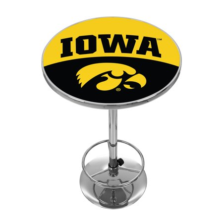 University of Iowa Chrome Pub Table - Logo Iowa Pub Table
