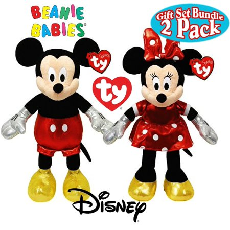 Cp Ty Beanie Babies Mickey & Minnie Mouse, Sparkle Red Classic Disney Set Plush Stuffed Animal Plush - Classic Mickey Mouse