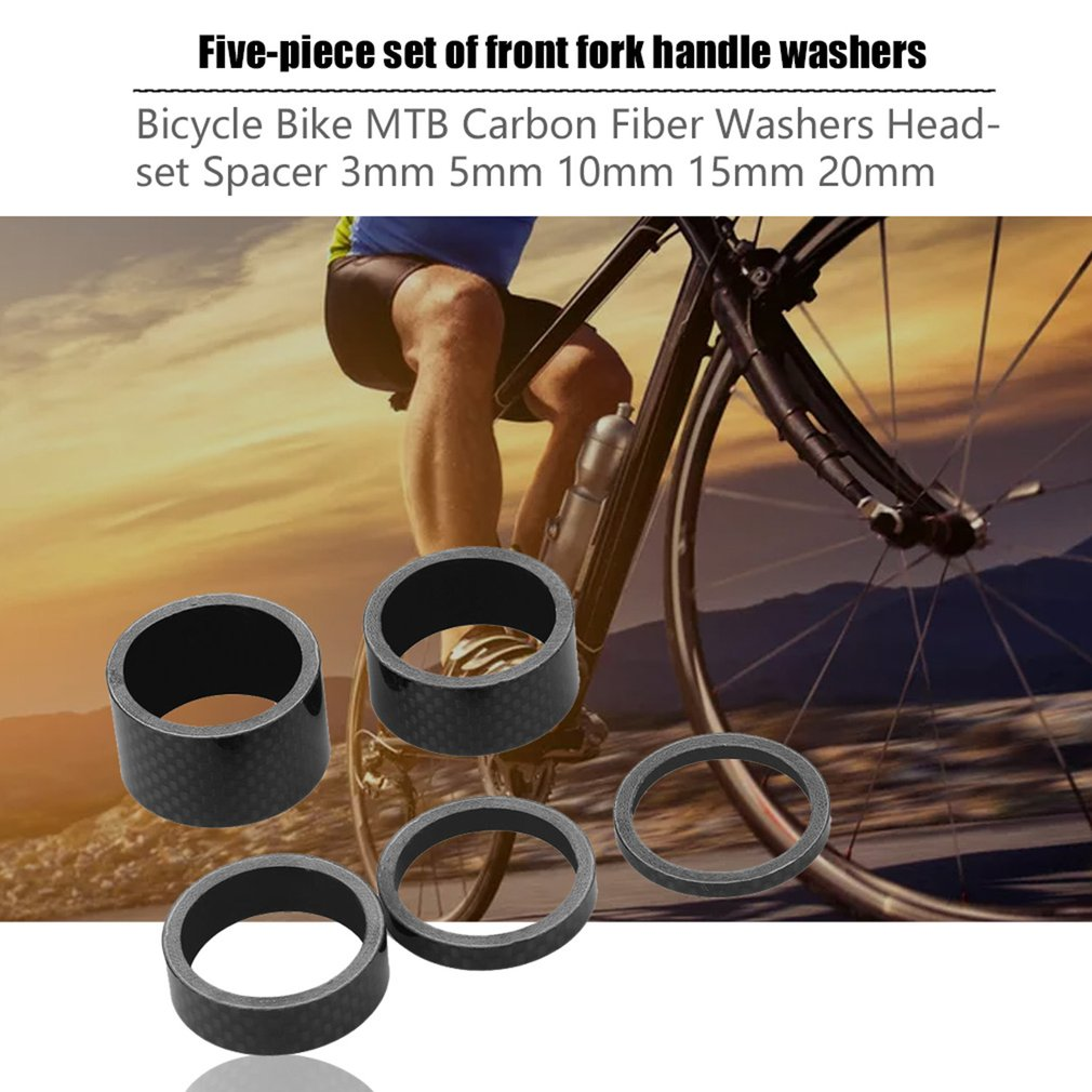 MTB Mountain Bike 5 10mm Carbon Fiber Front Fork Bowl Series Headset Washer Road Bicycle Headparts Backup Ring