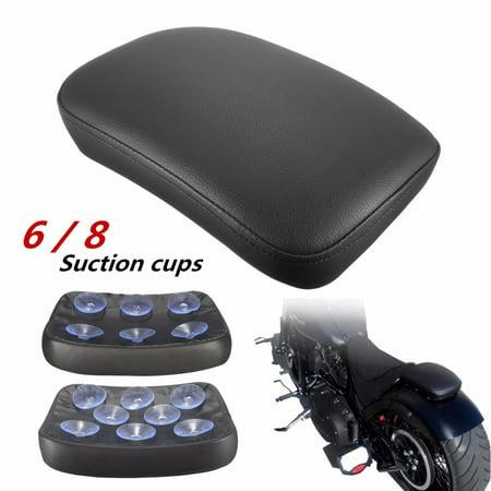 Grtsunsea Black Pillion Rectangular Rear Pad Seat For Harley Cruiser Custom 6 / 8 Suction Cup