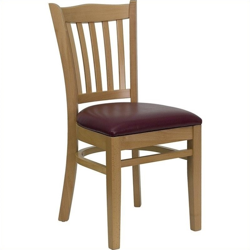 Flash Furniture HERCULES Series Natural Wood Finished Vertical Slat Back Wooden Restaurant Chair - Vinyl Seat Multiple Colors