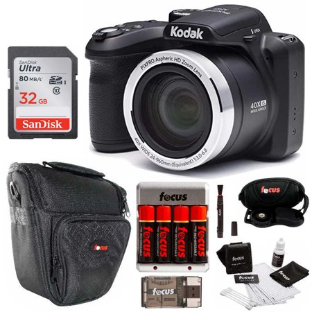 Kodak AZ401BK Point and Shoot Digital Camera with 32GB SD Card and Bundle