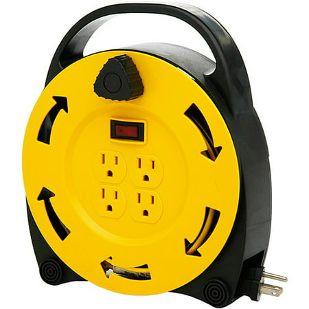 Designers Edge 4-Outlet Retractable Extension Cord Reel, - Hubbell Cord Reel