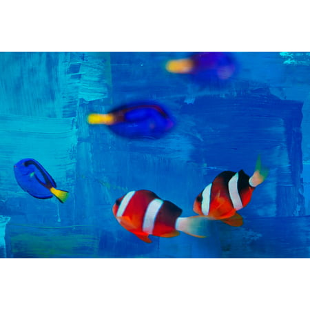 LAMINATED POSTER Background Abstract Small Fish Striped Fish Poster Print 24 x 36 (Small Background Stripe)