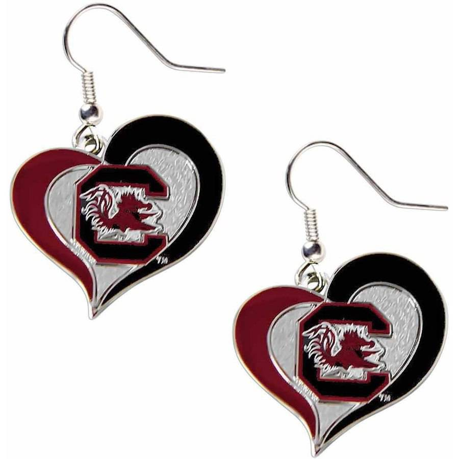 NCAA South Carolina Swirl Heart Shape Dangle Logo Earring Set