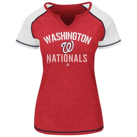 "Washington Nationals Womens Majestic ""Golden Future"" S S Split Neck Shirt Top by"