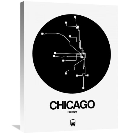 Black White Subway Map.Naxart Studio Chicago Black Subway Map Stretched Canvas Wall Art