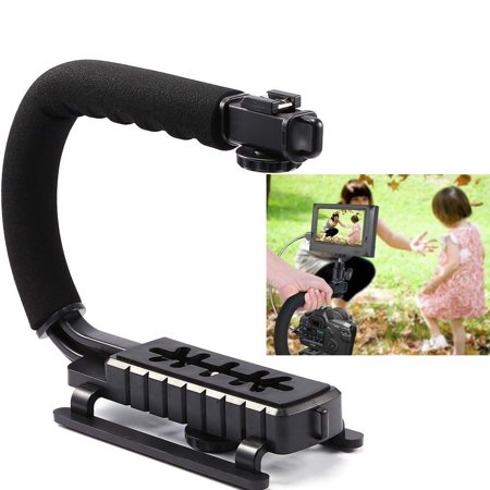 HURRISE C/U Shape Video Action Stabilizing Handle Grip Rig for iPhone 7 Plus Canon Nikon Sony DSLR Camera / Camcorder