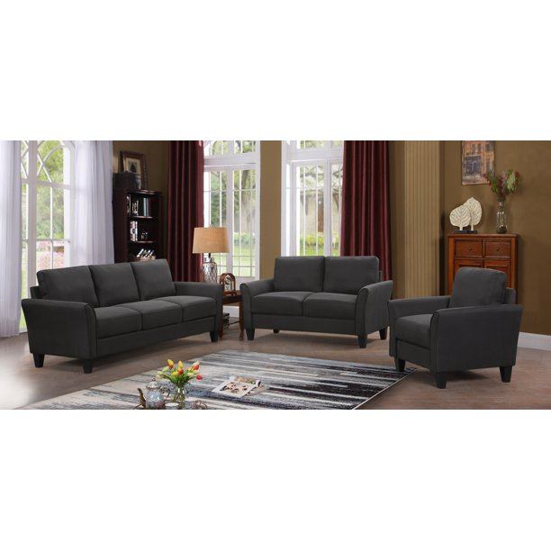 3 Piece Sectional Couch Set for Living Room, URHOMEPRO Modern Couches and Sofas Set with 3 Seat Sofa, Loveseat and Single Armchair, Furniture Sofa Set with Removable Cushions, Dark Grey, A01