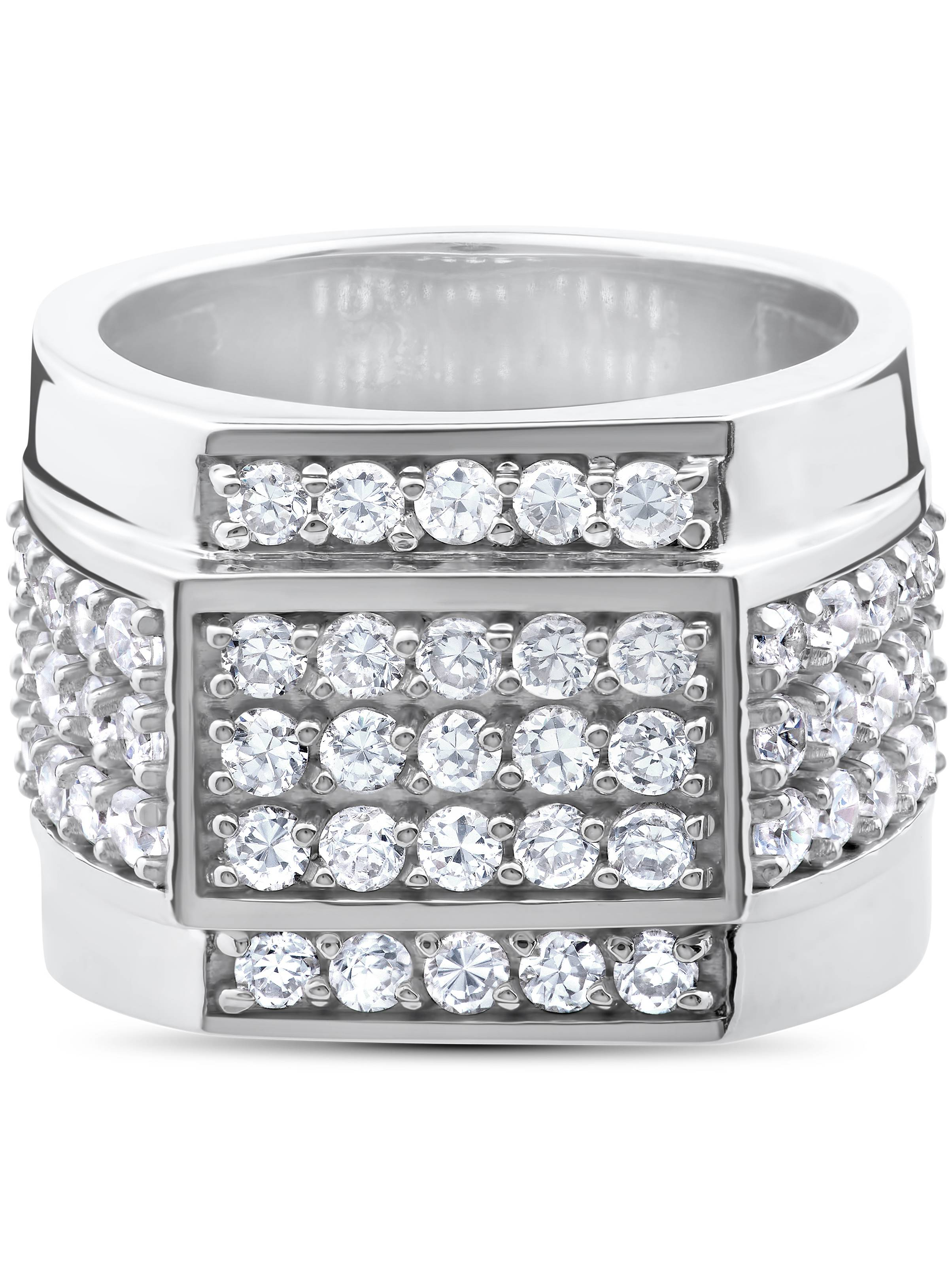 2 ct HUGE Mens Diamond 15MM Wide High Polished Flashy Bling Ring White Gold by Pompeii3