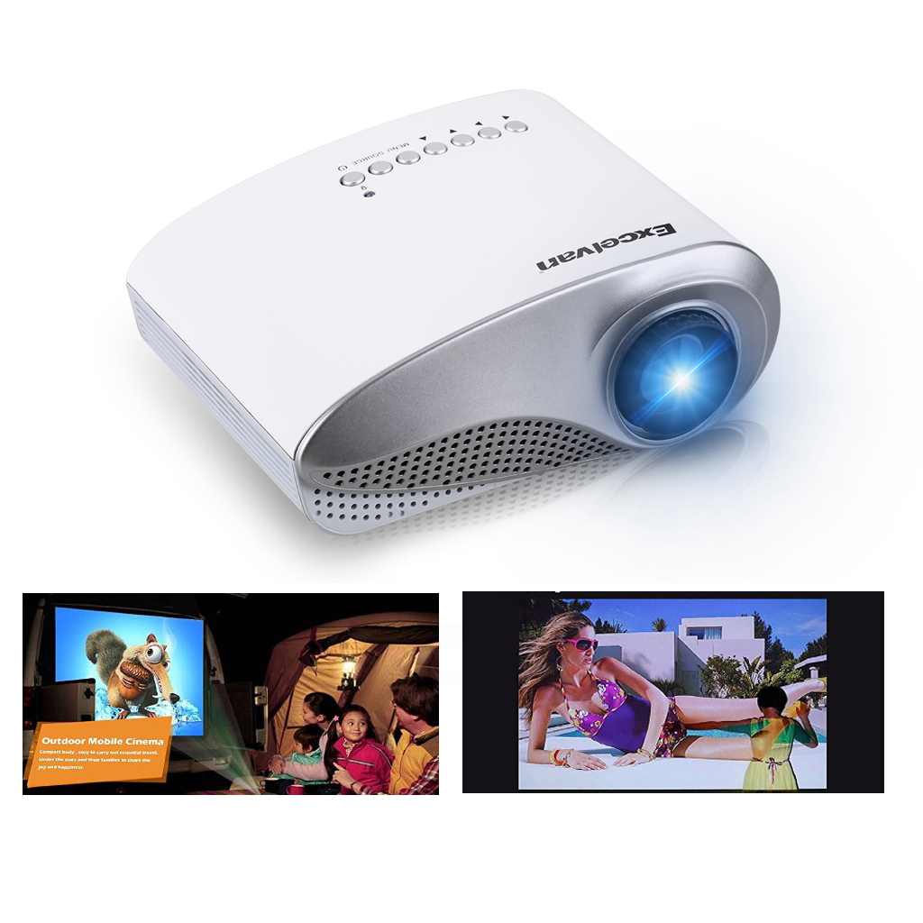 Excelvan LED LCD Video Projector, Home Theater Cinema projector, Multi Inputs - 1-HDMI,1-USB, 480x320 Native Resolution, Sleek Design, US Support & Warranty(Without TV interface)