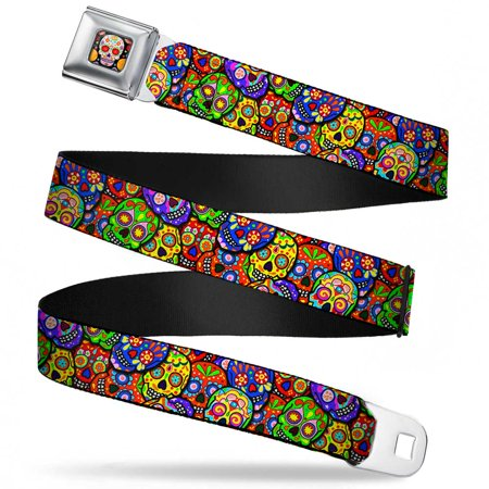 Sugar Skull Starburst Full Color Black Multi Color Colorful Calaveras Seatbelt Belt Standard (Sugar Skull Seat Belt Belt)