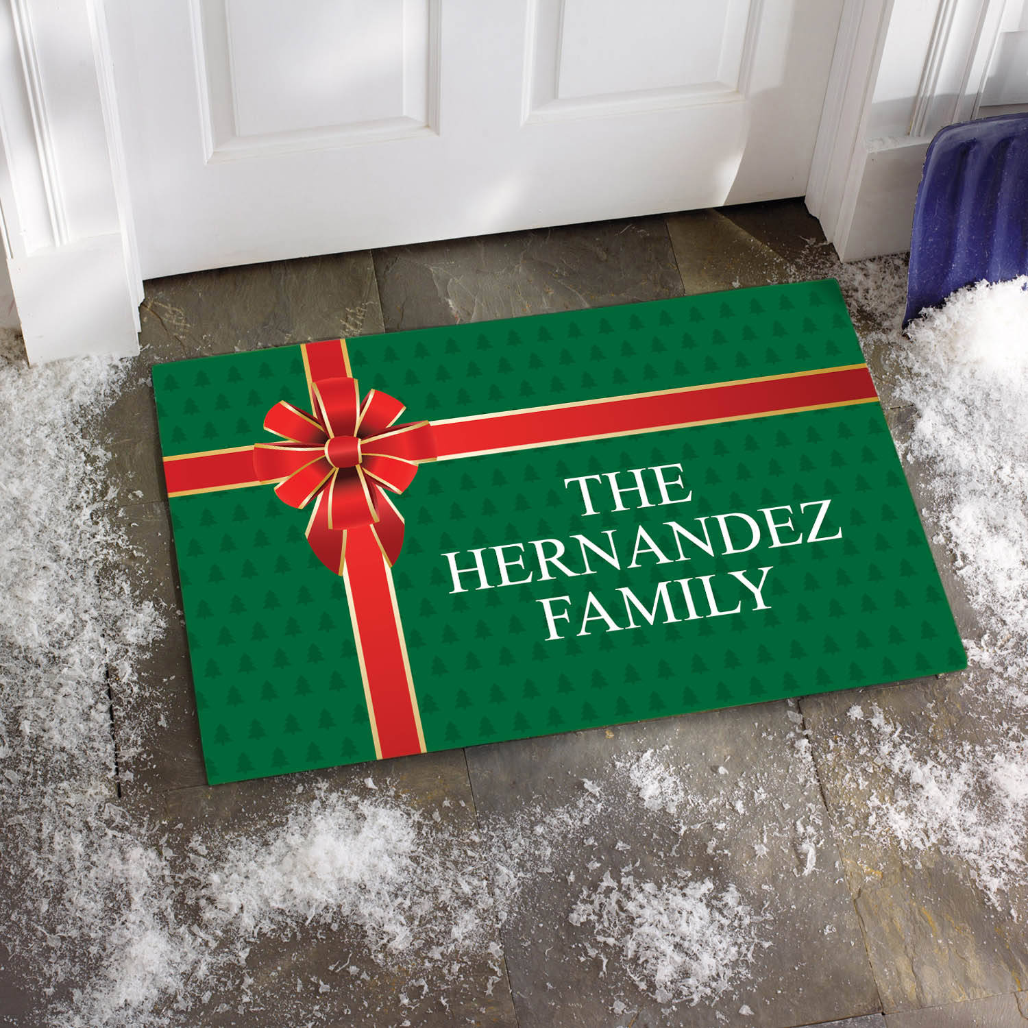 Personalized Gift Wrapped Family Doormat, Available in Different Sizes