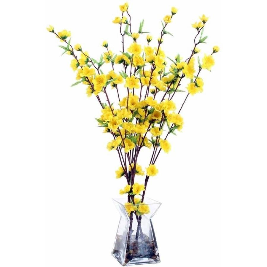 Vickerman Yellow Blossoms in Glass Vase