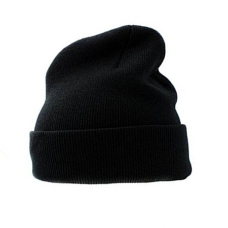 608cc977cf3 Unisex Plain Beanie Hat   Cap For Winter Or Cold Wheather - Black -  Walmart.com