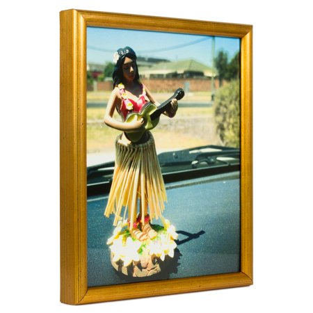 Craig Frames Bullnose, Contemporary Brushed Gold Picture Frame, 24 x 36 Inch