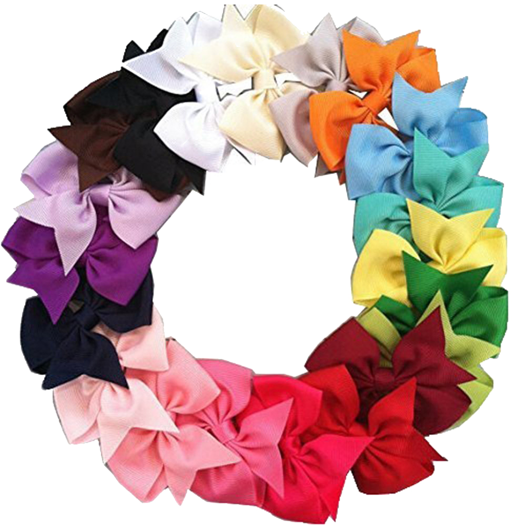 20Pcs Baby Girls Hair Clip set, Coxeer Grosgrain Ribbon Hair Bows Colored Hair Clip V-Shape Alligator Clips Fashion Headbands For Teens Women Girls Kids (Colorful)