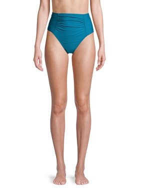 Time and Tru Women's Odes Sea Solid Rouched Highwaist Swimsuit Bottom